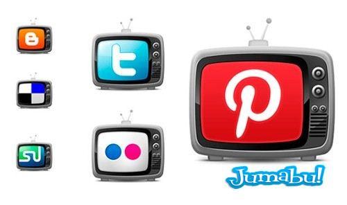 Iconos de Redes Sociales con formas de TV