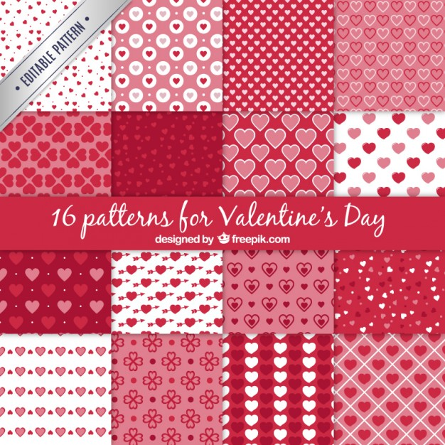 Texturas, Backgrounds o Fondos para San Valentín en Vectores