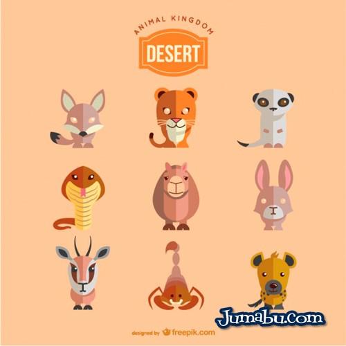 Vectores de Animales del Desierto con Estilo PLano