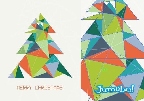 Árbol de Navidad Hecho con Triángulos y Transparencias