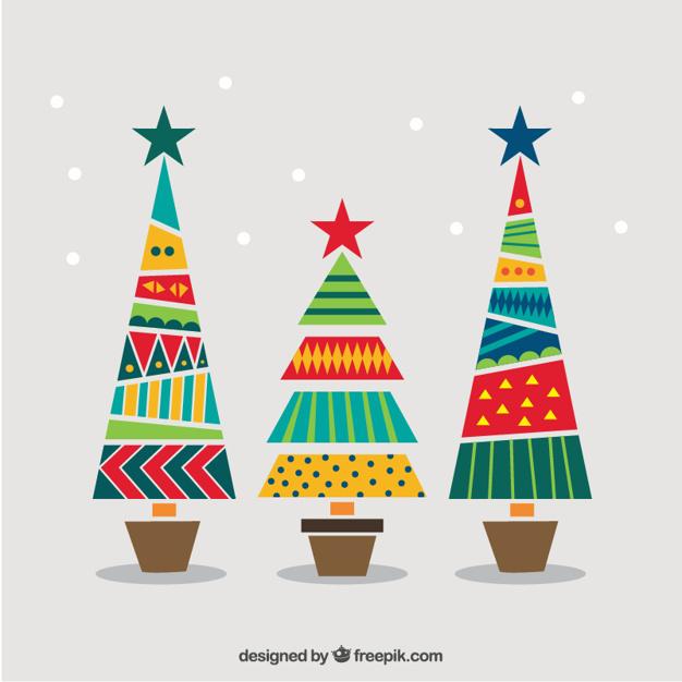 Arbolitos navideños en vectores para descargar gratis