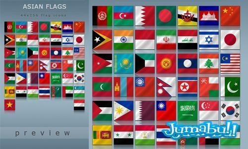 Banderas Asiáticas en PNG