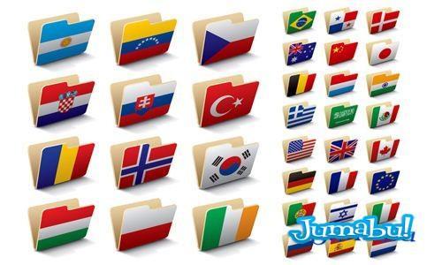 Carpetas con Banderas del Mundo