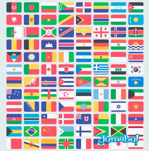 Banderas con Efecto Plano para Photoshop