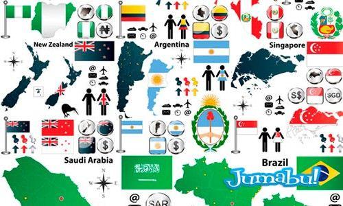 Mapas, Banderas, Iconos, Escudos de Varios Países del Mundo
