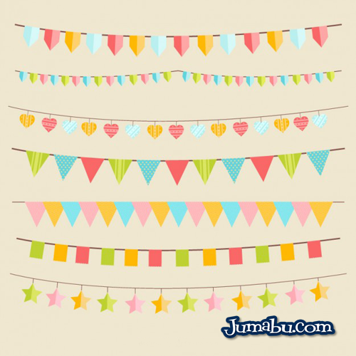 Banderines de Cumpleaños en Vectores | Jumabu