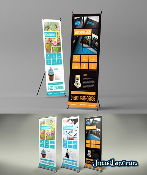 Mock Up de Banners de Pié para Editar con InDesign
