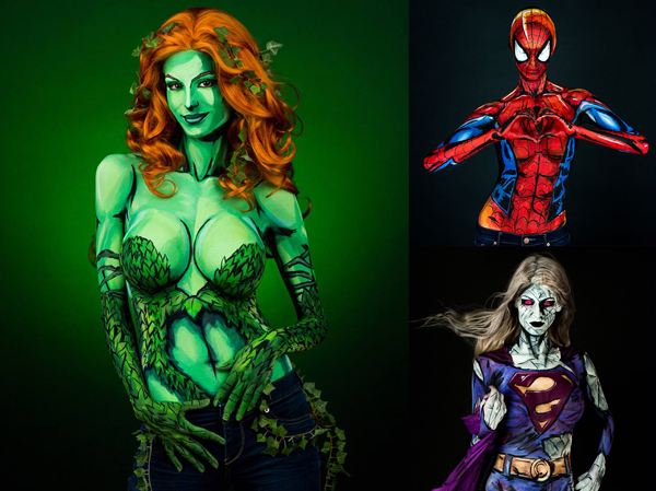 Excelente Body Painting de SuperHéroes