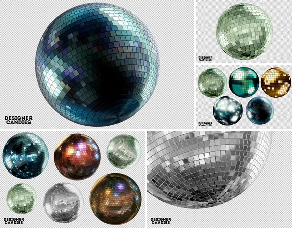 Descarga Bolas de Espejos Disco en PNG
