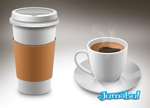 Taza de Café en PSD y Vaso Térmico de Cafe en Photoshop