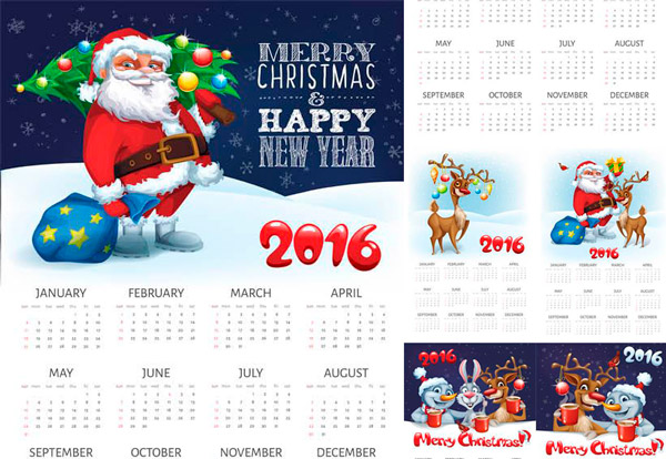 Calendarios Navideños 2016 para Imprimir