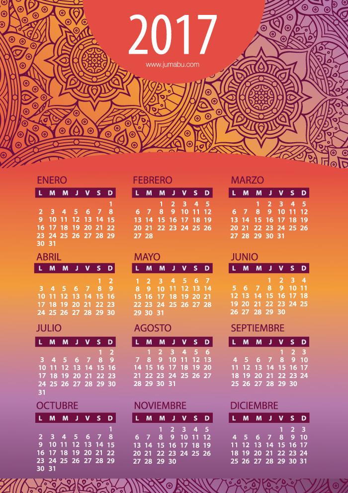Calendarios 2017 para Imprimir gratis | Jumabu