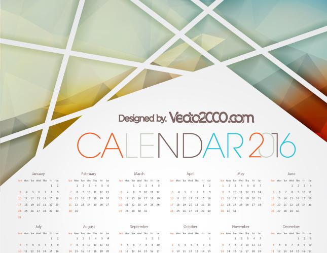 Calendario 2016 para Editar e Imprimir