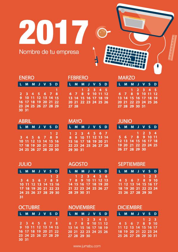 Calendario 2017 gratis para imprimir