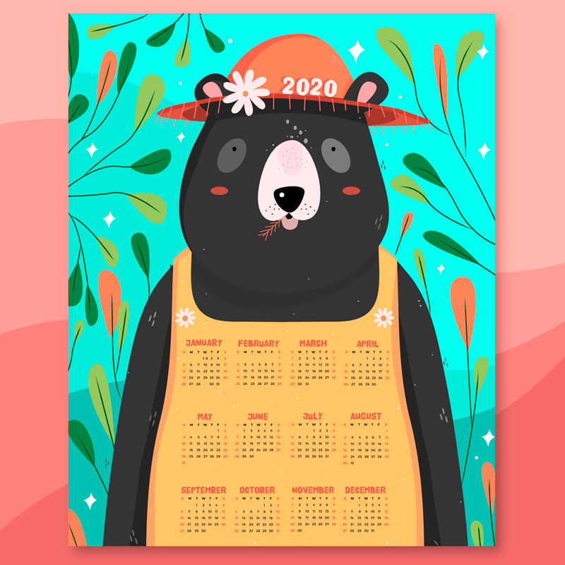 calendario 2020 dibujo de oso - Imprime un Calendario 2020 con dibujos infantiles