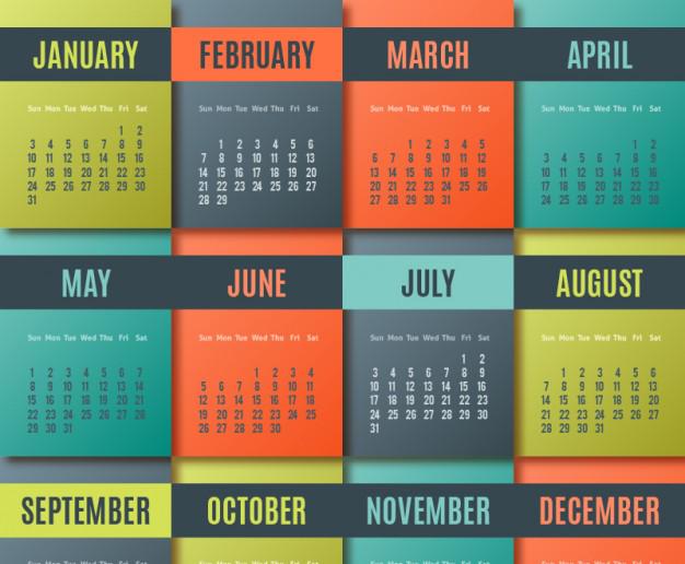 Calendarios 2016 Coloridos para Descargar e Imprimir