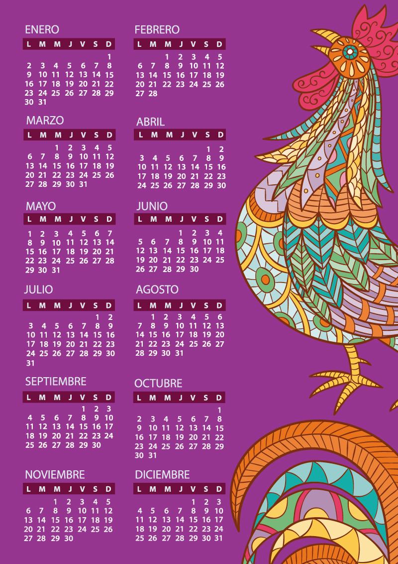Calendario 2017 para imprimir con dibujo de gallo