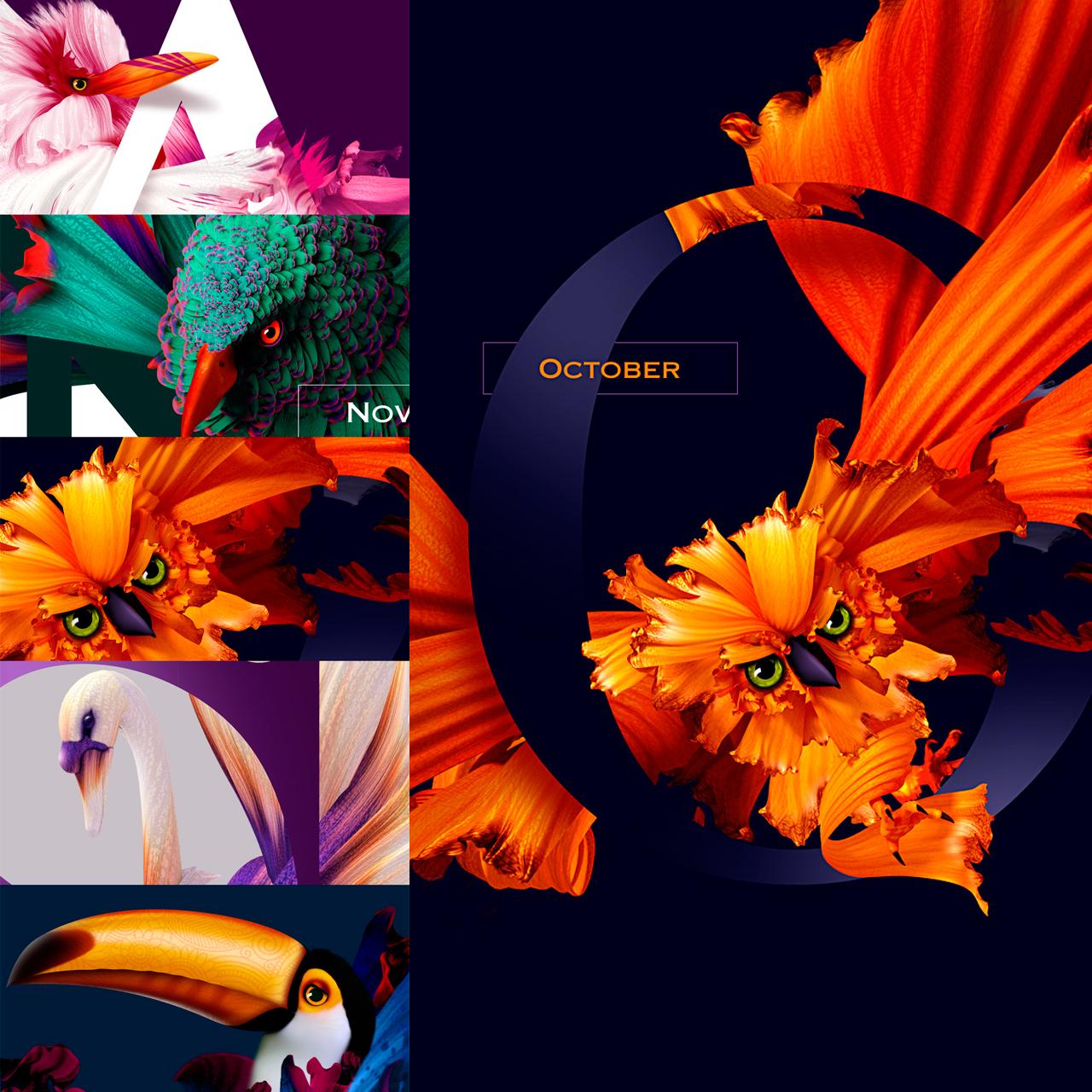 Diseño de Calendario con flores y aves muy original