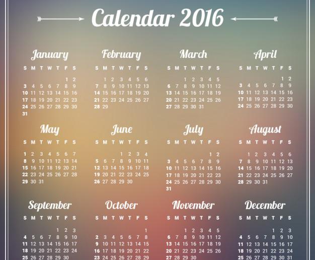 Almanaque 2016 para Descargar e Imprimir