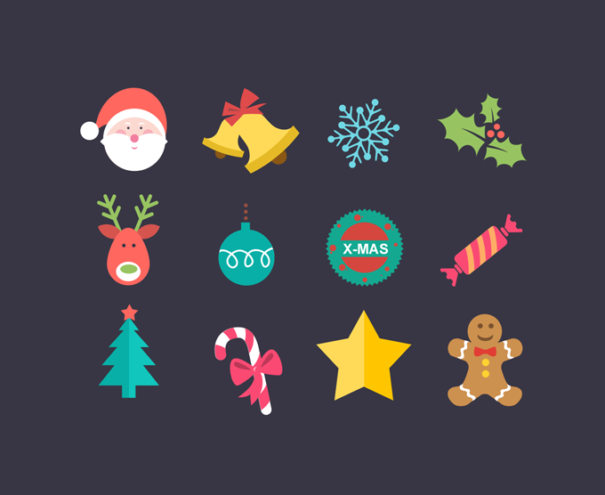Iconos para Navidad con Estilo Flat o Estilo Plano