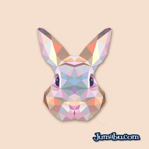 Cabeza de Conejo Vectorizada con Textura Poligonal