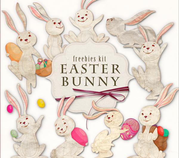 Imágenes en PNG de conejos con huevos de pascuas