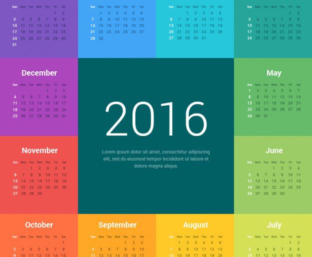Creativo Almanaque 2016 para Imprimir