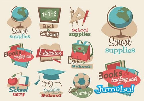 Elementos Escolares con Estilo Vintage