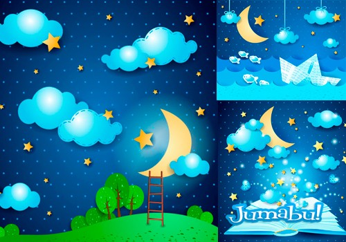 Vectores de Noche, Luna, Estrellas, Nubes con Estilo Infantil