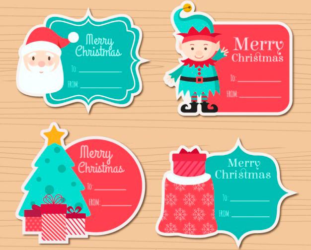 Etiquetas Navideñas para Recortar y Pegar