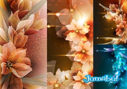 Flores con Destellos de Luz y Colores en Vectores