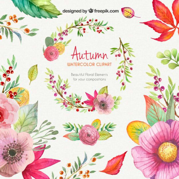Dibujos de flores coloridas con acuarelas