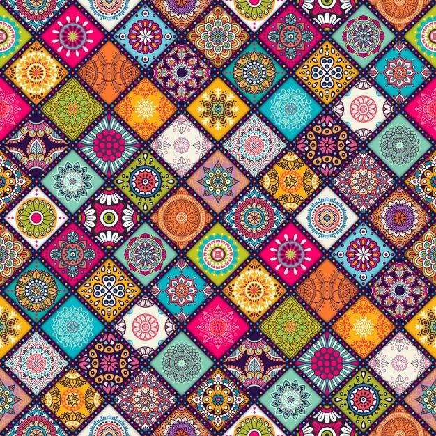 Fondos con mandalas coloridos en vectores