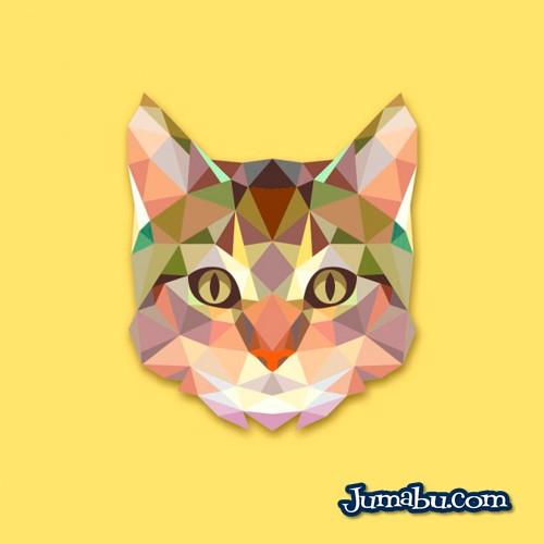 Gato Vectorizado con Textura Poligonal
