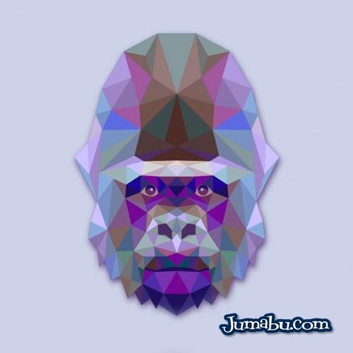 Gorila Vectorizado con Textura Poligonal