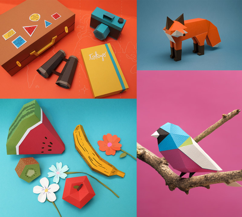 Personajes y escenarios con papel plegado de mil colores