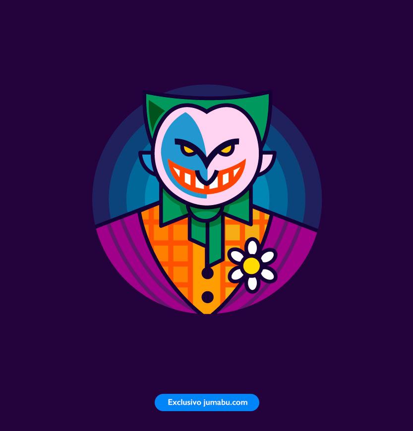 Estampa del Guasón o Joker en vectores