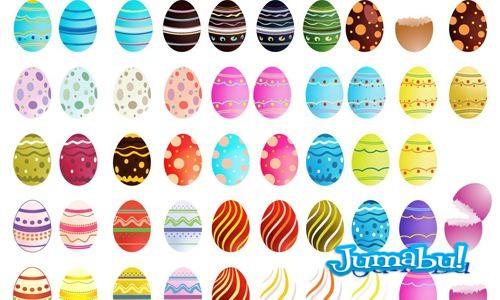 Huevos de Pascuas en Vectores con Diferentes Motivos