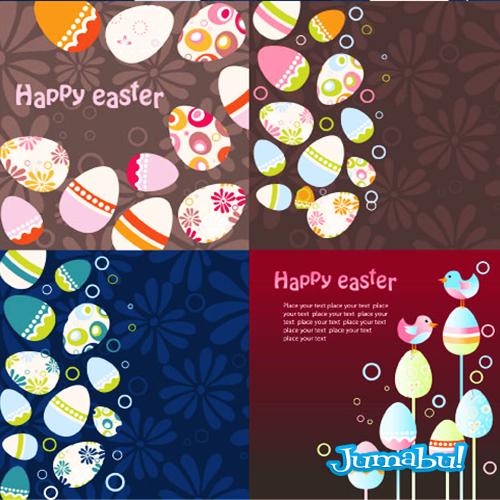 Coloridos Huevos de Pascuas en Vectores