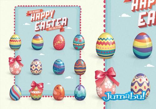 Dibujos de Huevos de Pascuas Pintados con Colores Pasteles