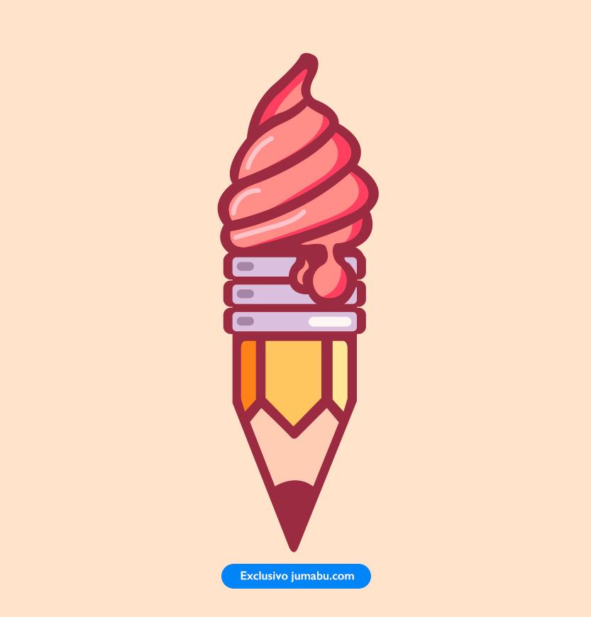 Icono de lápiz con helado en vectores