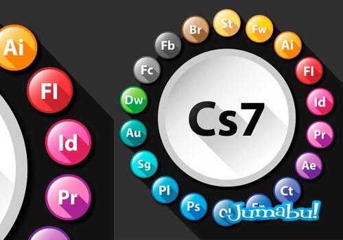Iconos de los Productos Adobe con Efecto Sombra Larga