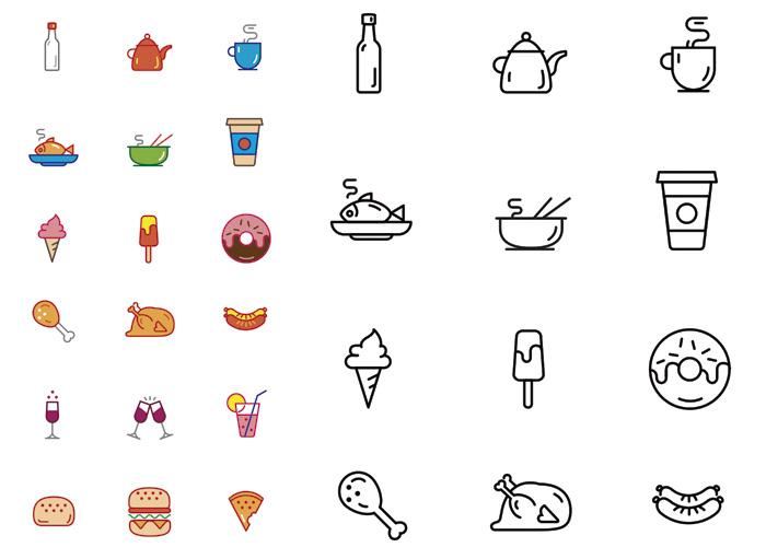 Iconos de Comida en Vectores