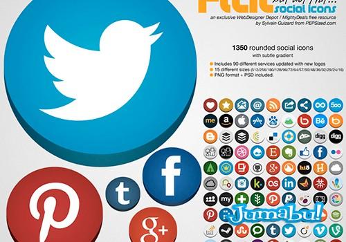Iconos Planos de Muchas Redes Sociales