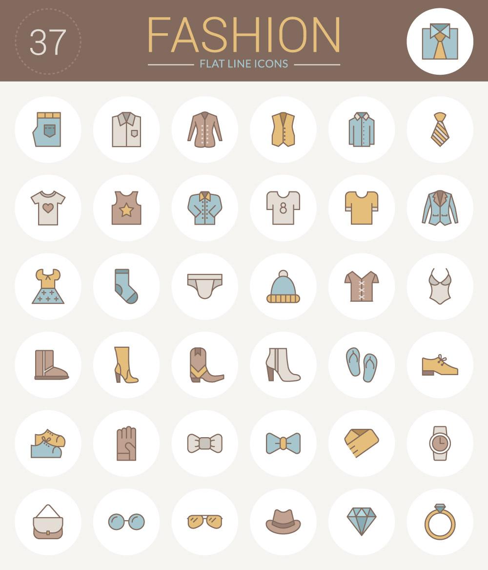 Set de íconos en vectores de indumentaria con estilo plano – lineal