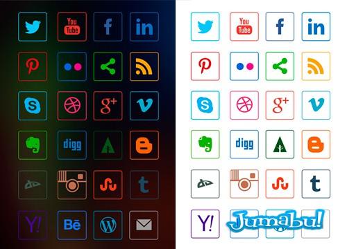 24 Iconos Sociales Lineales en Vectores