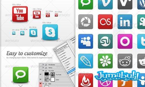 Iconos Sociales en PSD