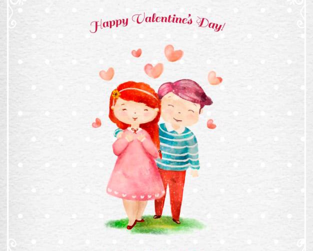 Dibujo para San Valentín con efecto acuarelas