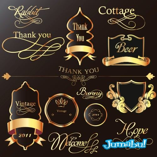 Etiquetas, Escudos, Decoraciones en Vectores Dorados y Negros