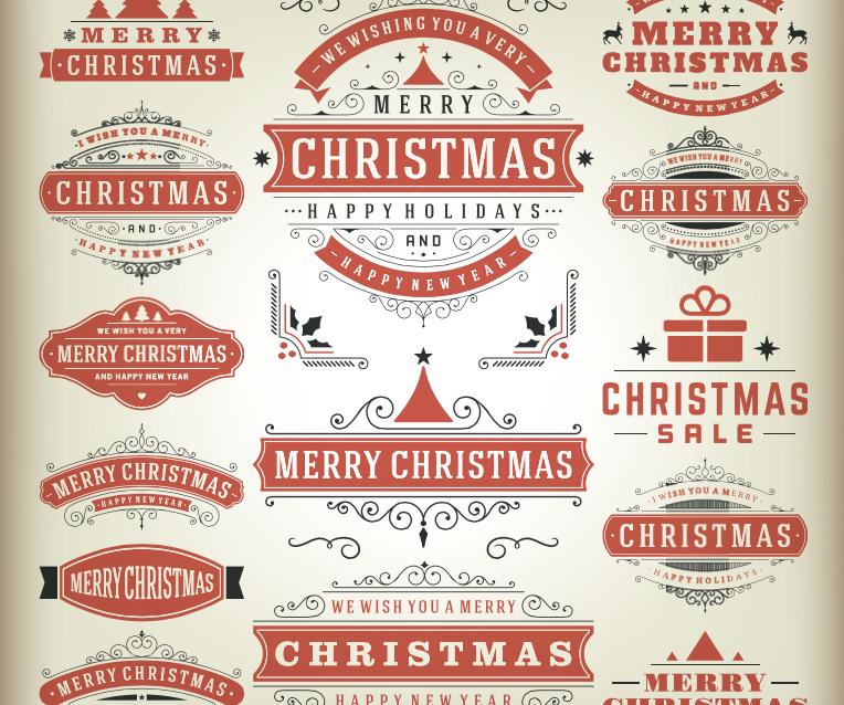 Etiquetas para Navidad en Vectores Ornamentales